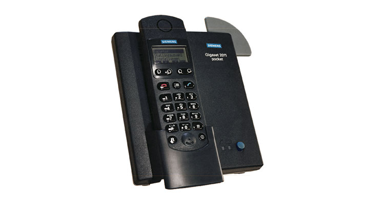 The first DECT landline phone in the shape and size of a small mobile phone.