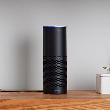 Amazon Echo on shelf